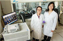 Postdoctoral researcher Fengjiao Zhang (left) and professor Ying Diao developed devices for sensing disease markers in breath.