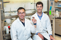 Illinois professor David Flaherty, right, and graduate student Daniel Bregante are working on a greener way to produce plastic and resin precursors that are derived from fossil fuels, a process that might ultimately lead to broader industry adoption of this fine-tuned and environmentally conscious version of a much older process.