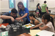 Philip Anderson, professor of animal biology, helps campers examine bugs at the Girls Explore Biology Camp.