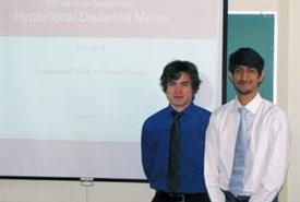 Donald Darga (left) and Mohammad Malik won second place at Texas Instruments� Analog University Design Contest for their Senior Design project.