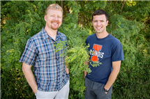 Researchers at the U of I found that plants vary a lot in the efficiency with which they uptake carbon dioxide and conserve water. Plant biology professor Andrew Leakey, left, mentored Kevin Wolz, who was an undergraduate at the time he conducted the research. Wolz now holds degrees in civil engineering and biology and is pursuing a doctorate in biology.