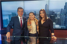 Daissy Dominguez, center, has been prominent in her legal work regarding immigration. This photo was taken after an interview at the television network Univision Noticias with Jorge Barbosa and Sonia Garcia.