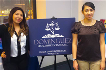 Daissy Dominguez, left, with Estefania Perez, who was awarded a scholarship from Dominguez's law firm to attend Benedictine University.