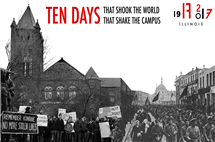 This photo compilation shows, on the left, a protest by Altgeld Hall at U of I (photo by Ray Cunningham), and, on the right, the march to Smolney during the Russian Revolution. (Image courtesy of Ten Days organizers).