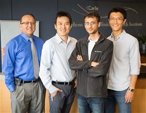 Researchers at the University of Illinois worked with physicians at Carle Foundation Hospital in a new study that found one measurement of biomarkers in the blood can predict a patient�s sepsis status as well as monitoring the patient for hours. Pictured, from left: Professors Rashid Bashir and Ruoqing Zhu, Prenosis Inc. employee Ishan Taneja and professor Sihai Dave Zhao.
