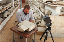 Daniel Leon used a 3D scanner in Athens to learn more about a second century historian who studied Alexander the Great. (Photo courtesy of K.A. Rask.)