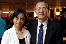 Xiaoming Chen, left, and her husband, Peixin He, endowed the chair in honor of Larry Faulkner, the former advisor of He and colleague to both of them.