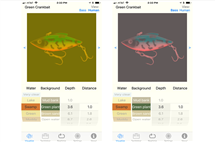 Sample images show how the BassVision app helps anglers. The image on the right shows how largemouth bass would see a fishing lure in certain swamp water; the image on the left shows how a human would see it. (Image courtesy of Becky Fuller and BassInSight.)