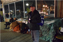 Jeff Christensen participates in One Winter Night, to raise awareness of homelessness. (Photo courtesy of John Christensen.)