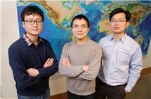 From left, geology graduate students Jiashun Hu and Quan Zhou and professor Lijun Liu challenge traditional theories about western U.S. volcanism with new evidence from supercomputer modeling. (Photo by L. Brian Stauffer.)