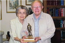 The Endowment in Ukrainian Studies in the Department of Slavic Languages and Literatures is being established by the daughter of Dmytro Shtohryn, who is credited with establishing Ukrainian studies at Illinois. In this photo, Dmytro and his wife, Eustachia, are shown receiving the community service award from the Ukrainian Congress Committee of America in 2009. (Image courtesy of Dmytro Shtohryn.)
