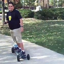 ECE grad student Andres Guzman-Ballen developed a wireless controller for his mountainboard while an undergraduate in ECE. He used a video of that board as part of his entry into a national scholarship competition.