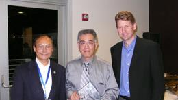 ECE Professor K.Y. Norman Cheng (center) recently received the MBE Innovator Award. Jeff Hohn (left) of Veeco Instruments and Professor Charles Tu (right) from the University of California, San Diego, chairman of the NAMBE Advisory Board, presented the award.