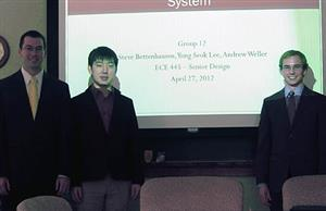 The team of (from left) Steve Bettenhauser, Yong Seok Lee, and Andrew Weller designed a gun safety that unlocks using a fingerprint scanner on a wireless unit.
