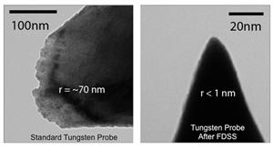 A traditionally etched tungsten STM probe, left, sharpened to a 1-nanometer point after bombarding it with ions. Image courtesy Joseph Lyding.