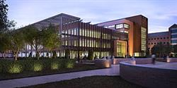 A rendering of the new ECE building at night.