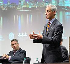 Chicago Mayor Rahm Emanuel addressed University of Illinois students at the beginning of a panel discussion featuring Emanual and several leaders of Chicago-based tech companies. Mike Evans of GrubHub is seated. <b><a title='Chicago After Hours panel' params='lightwindow_width=425,lightwindow_height=340,lightwindow_loading_animation=false' class='lightwindow page-options' href='http://www.youtube.com/v/qy8kE7pGH68'>Watch a video</a> of the tech leaders' panel.</b>