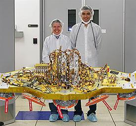ECE alumni Elaine Chapin (left) and Ahmed Akgiray worked at NASA's Jet Propulsion Laboratory on a team that designed and built the radar system used for Curiosity, the Mars Rover.