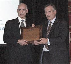 ECE Professor Joseph Lyding (left) is the recipient of the 2012 IEEE Pioneer in Nanotechnology Award.