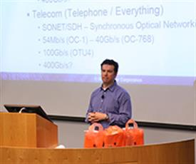 Jonathan Ashbrook (BSEE '98, MSEE '00), an ECE Alumni Board member, IC design engineer at Finisar, and site manager for the Champaign Design Center, discussed recent advances in optical networking.