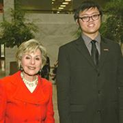 Sen. Barbara Boxer and Alex Hsu.