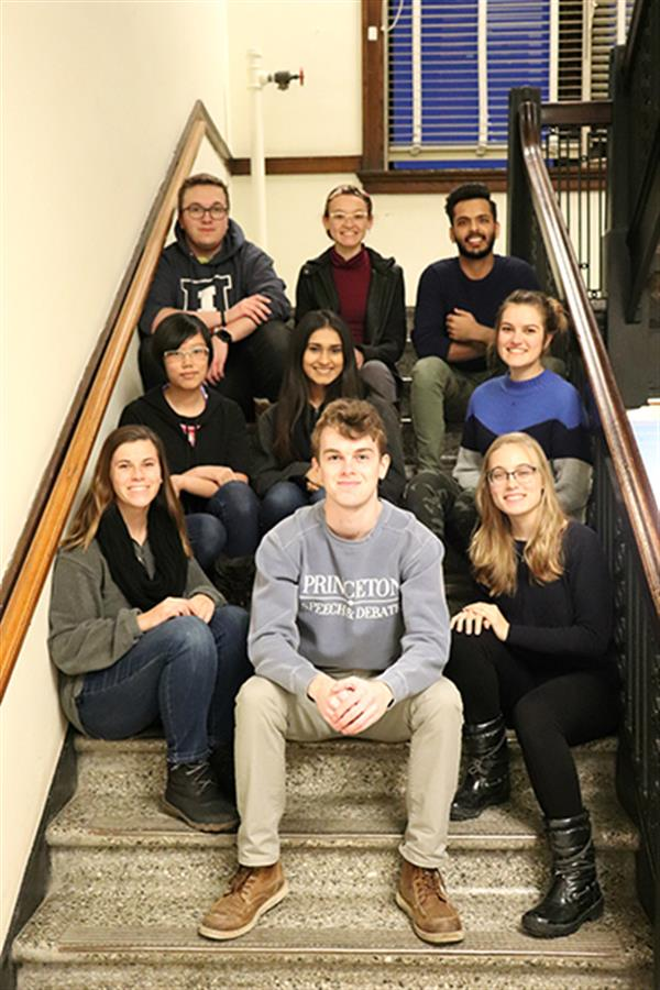 RuthAnn and the lab assistants of Professor Molly Goldstein's Product Design Lab. Pictured are (top left) Lucas Mohs, Alexis Roels, Kushagra Mittal, Christina Chen, Dhun Patel, Kinga Wrobel, Marilyn Sedlak, RuthAnn Haefli.  Not pictured (Nicole Lynch, Kyle Moukheiber, Kristen Whalen, Justin Dembrowski, Julia Cima, and Alexandra Brown)