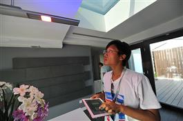 The LED light fixture is controlled using an Illinois-designed automation system. PV skylight above. Photo by Guanxin He.