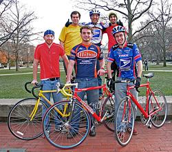 Photo by Brad Vest courtesy of The Daily Illini.  Among the Illinois 4000 cyclists are: (back, from left): Brian Albrecht, Anish Thakkar, and Hatim Rahman. Front (front, from left): James Ballard, Nick Ludmer, and Jonathan Schlesinger.