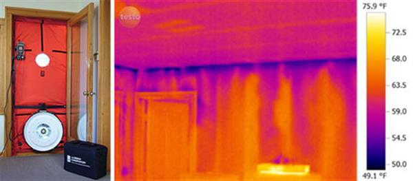 A blower door pulls air out of the interior to allow the detection of leaks throughout the house. An infrared camera gives an accurate measurement of wall temperature and can aid in the analysis of both insulation and air leaks.