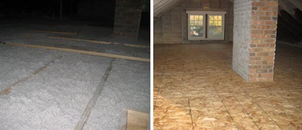 A thick blanket of loose pack cellulose is added to the attic and then covered with a wooden floor (optional).