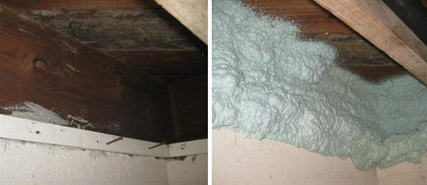 The rim joist before and after being insulated and air-sealed with closed-cell foam in the basement.