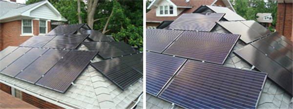 The solar PV array on the garage. The first photo shows the modules on the west and south faces; the second photo shows the modules on the south and east faces. There are also two modules on a shed situated to the south of the garage, shown in a photo below.