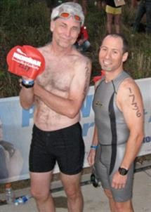 ECE Professors Bruce Hajek (left) and Andrew Singer look confident at the beginning of the Ironman triathlon held in August in Louisville, Kentucky.