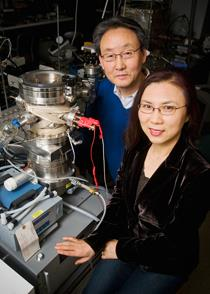 ECE researchers Kyekyoon (Kevin) Kim and Hyungsoo Choi have developed a new low-temperature, catalyst-free technique for growing copper nanowires.