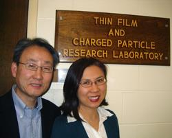 ECE researchers Kevin Kim and Soo Choi outside their lab. The researchers recently received a patent for a process they developed to aid in the creation of microparticles used to deliver medicine.