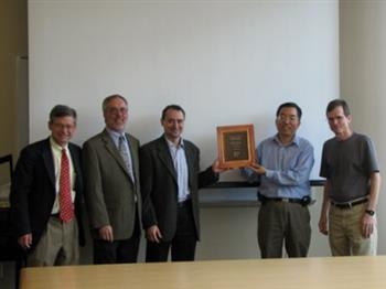Illinois was recognized last week as an OpenSPARC Center of Excellence by Sun Microsystems. Pictured are Illinois Vice Chancellor for Research Charles Zukoski, Sun representative David Crockett, CS Professor Josep Torrellas, ECE alumnus and Sun Executive Vice President for Microelectronics David Yen, and CS Interim Department Head Michael Heath.