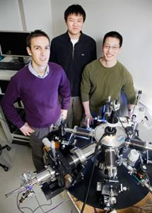 ECE Assistant Professor Eric Pop (left) worked with undergraduate Yang Zhao (center) and graduate student Albert Liao, both in ECE, to demonstrate a remarkable increase in the current-carrying capacity of carbon nanotubes. Photo by L. Brian Stauffer.