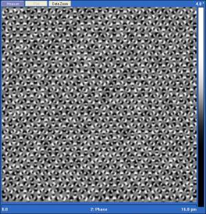 Magnetic force microscope image of emergent domains of ordered magnetic charges in honeycomb artificial spin ice. The black and white dots in the image are the north and south magnetic poles of the nanomagnets.