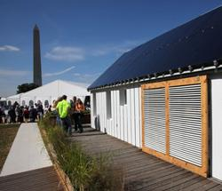 The Washington Monument was clearly visible from the Illinois Gable Home during the Solar Decathlon competition. Photo by Stefano Paltera/U.S. Department of Energy Solar Decathlon.