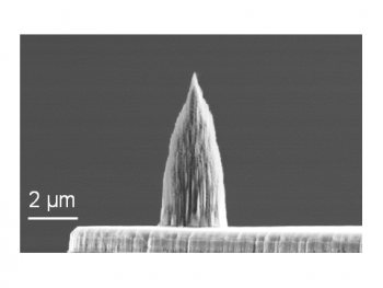 Diamond nano-tip integrated onto the micro-heater of a doped silicon microcantilever. The tip has a radius of 10 nm.