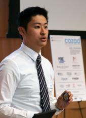 GlucoSentient's Brian Wong makes his pitch to the judges.