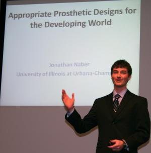 Lemelson-MIT Illinois Student Prize winner Jonathan Naber impressed the audience with his passionate presentation about low-cost prosthetics.