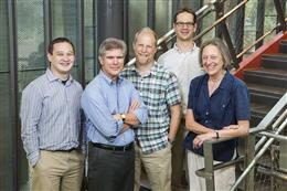 The NSF WIDER team (from left): Professors Geoffrey Herman, Jose Mestre, Jonathan Tomkin, Matthew West, and Jennifer Greene. Photo by L. Brian Stauffer.