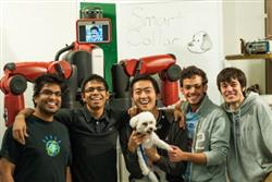 The Smartcollar team: (l to r) Aadeel Akhtar, Brian Chien, Anarghya Mitra, Logan Wan, Carter, Gabriel Hruskovec, and Shugo Tanaka.