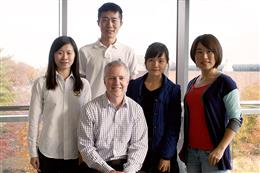 Professor Brian Cunningham at front, with graduate students (L-R) Chenqui Zhu, Haisheng Xu, Yafang Tan, and Tiantian Tang.