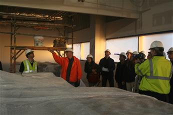 Students in CEE 398 get a tour of the Electrical and Computer Engineering Building construction site.