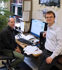 Tomasz Kozlowski (right) is providing computer simulation support for the DOE-funded multi-institutional project to develop improved cladding for nuclear fuel rods led by NPRE professor Brett Heuser (left).