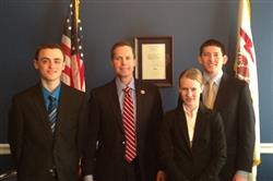 Illinois students Lucas Hendren, Gloria See, and Miguel Moscoso with Illinois Congressman Rodney Davis.