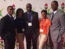 ECE ILLINOIS students at the convention (L-R): Jonathan Buie, Jasmine Chapman, Temitayo Ade-Oshifogun, Kenya Ansah, and Junia Findlay. Not pictured: Pierre McCauley.