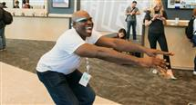 Osuagwu won the coveted Google Glass at a squat-thrust competition, photo used with permission from Google.